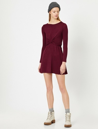 Koton Büzgülü Elbise Mor
